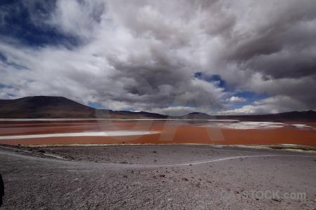 Landscape salt laguna colorada lake bolivia.
