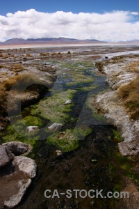 Landscape stream mountain algae sky.