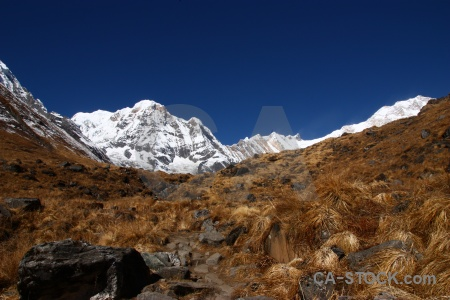 Landscape valley annapurna sanctuary trek altitude mountain.