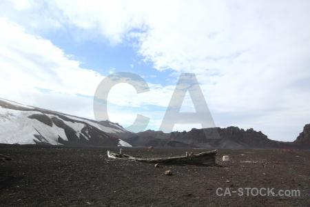 Landscape vehicle antarctica cloud deception island.