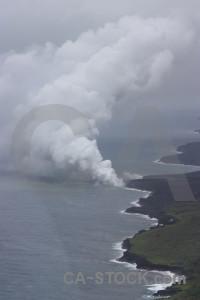 Landscape volcanic smoke.