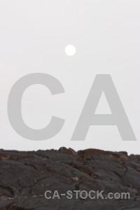Landscape volcanic white moon.