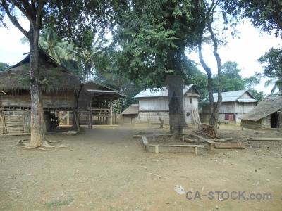 Laos khmu hut sky village.