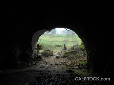 Laos rock plain of jars cave sky.