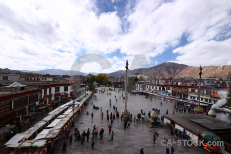 Lhasa asia buddhist pole person.