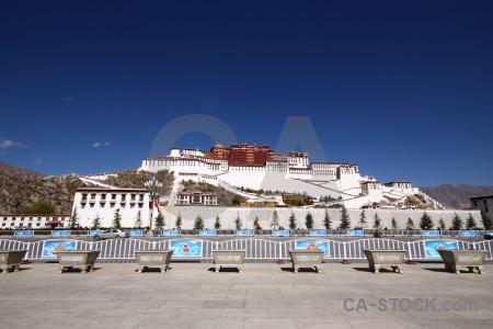 Lhasa building asia potala palace sky.