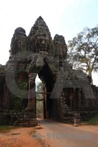 Lichen ruin angkor thom southeast asia buddhist.