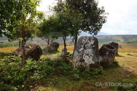 Lichen stone phonsavan laos rock.