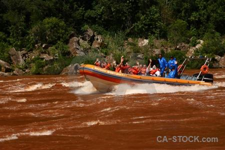 Life jacket water vehicle tree iguazu river.