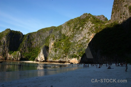 Limestone beach ko phi leh sea thailand.