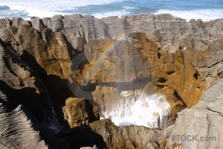 Limestone rock south island west coast spray.
