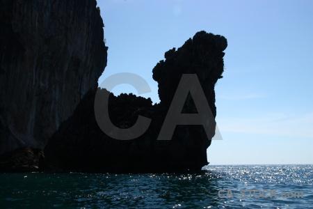 Limestone rock thailand ko phi don water.