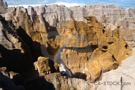 Limestone south island rainbow pancake rocks new zealand.