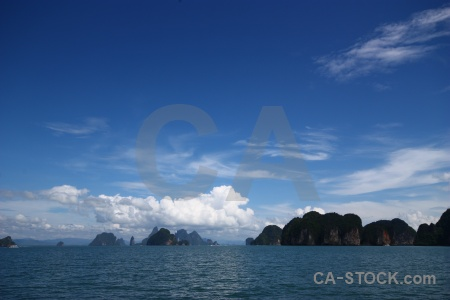 Limestone southeast asia cloud phang nga bay thailand.