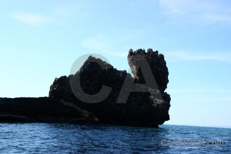 Limestone southeast asia water rock island.