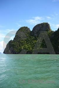 Limestone thailand sky sea southeast asia.