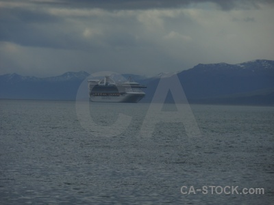 Liner mountain sea patagonia beagle channel.