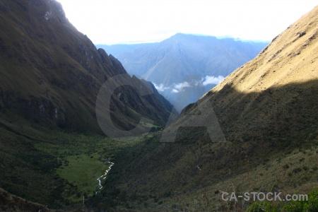 Llulluchapampa valley andes llulluchapampa river peru inca trail.