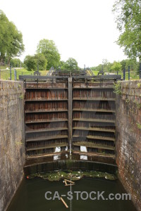 Lock white river water green.
