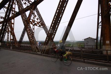 Long bien bridge metal sky southeast asia hanoi.