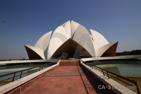 Lotus temple water sky india path.