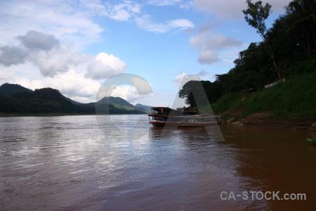 Luang prabang mekong river cloud sky boat.