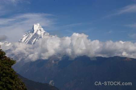 Machapuchare mountain himalayan snow landscape.