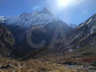 Machapuchre sun machapuchare snowcap himalayan.