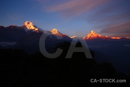 Machapuchre sunset landscape annapurna sanctuary trek cloud.