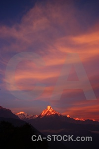 Machhapuchchhre asia mountain south sunrise.