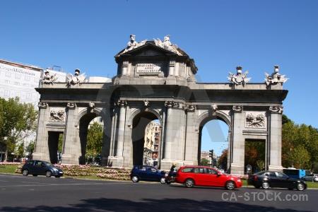 Madrid sky europe archway vehicle.