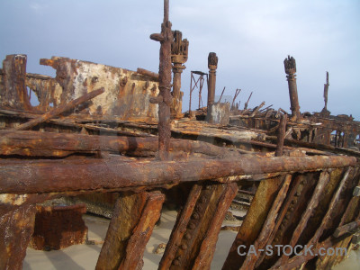 Maheno rust wreck vehicle ship.