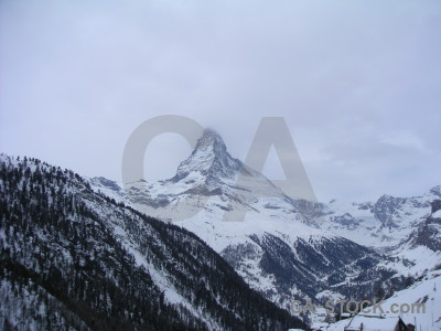 Matterhorn mountain snow landscape.