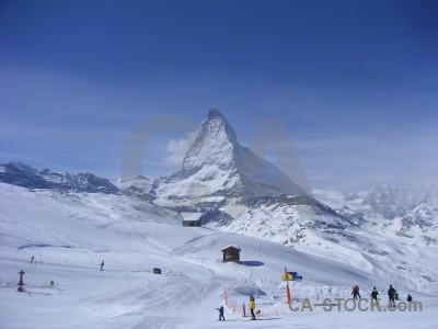 Matterhorn snow mountain landscape person.