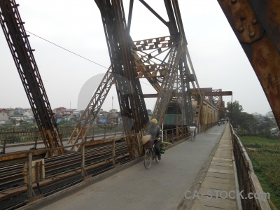 Metal train southeast asia long bien bridge cantilever.