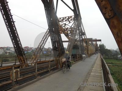 Metal train southeast asia long bien bridge cantilever.