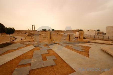 Middle east sky amman ruin pillar.