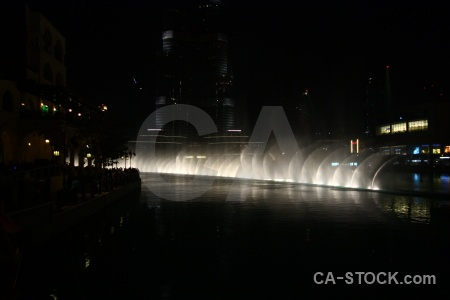 Middle east uae night pool fountain.