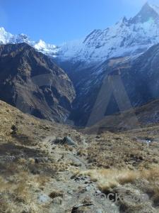 Modi khola valley asia machapuchre altitude mountain.