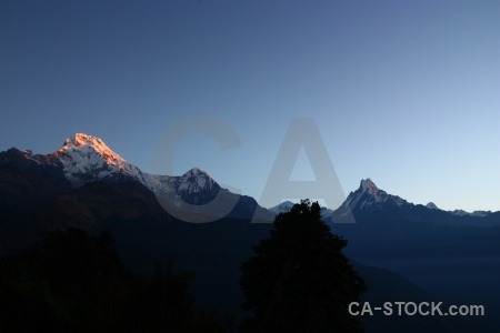 Modi khola valley sunset asia machapuchare machapuchre.