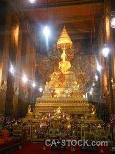 Monk buddha wat pho bangkok thailand.