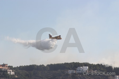 Montgo fire airplane europe javea spain.