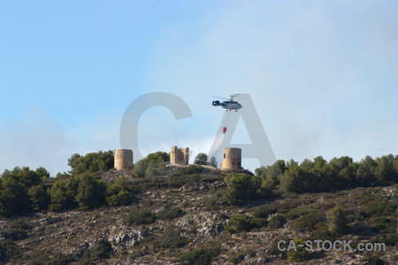 Montgo fire helicopter javea europe smoke.