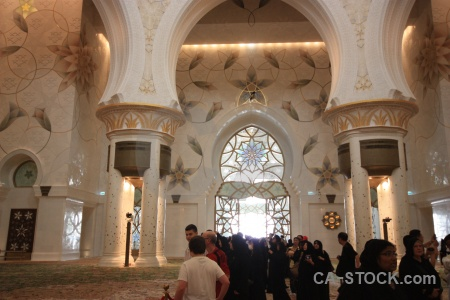 Mosque muslim inside middle east archway.