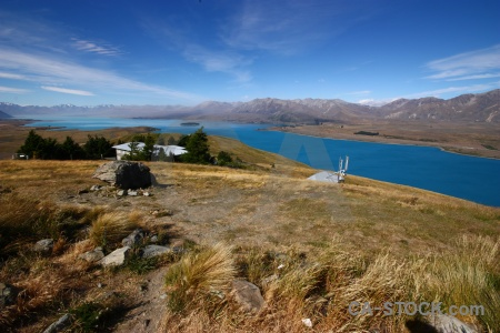 Mount john lake tekapo grass building sky.