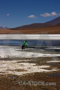 Mountain andes south america laguna canapa salt lake.