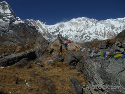 Mountain annapurna base camp snowcap nepal altitude.