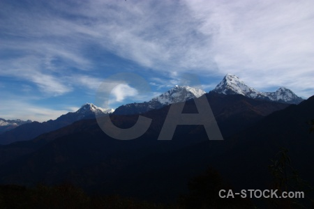 Mountain annapurna sanctuary trek snow cloud asia.