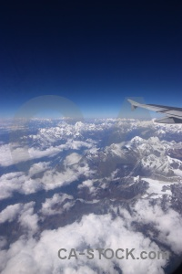 Mountain asia airplane cloud landscape.