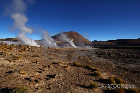 Mountain el tatio atacama desert steam geyser.